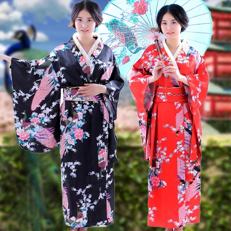 Peacock Flower Japanese Traditional Costume Kimono for ...