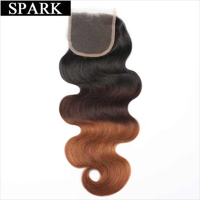 "Spark Body Wave Swiss Closure Brazilian Remy Human Hair 4""x4"" Free Part Closure Ombre Color 1b/4/30 Medium Brown 120% density"