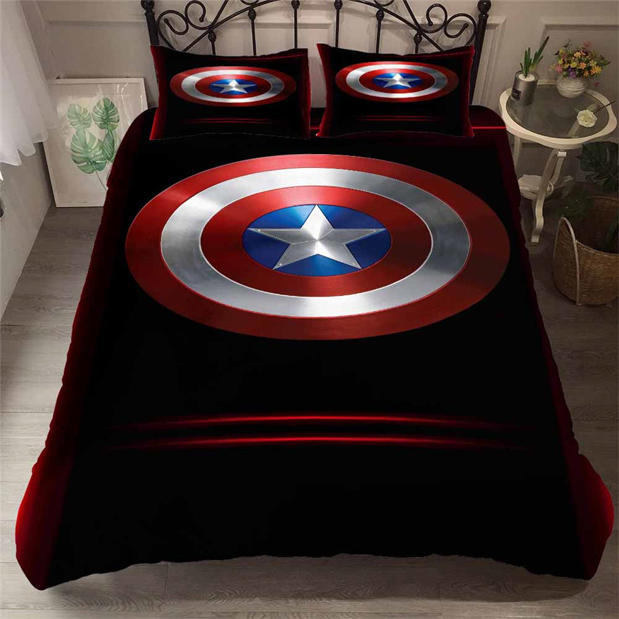 HELENGILI 3D ensemble de literie les Avengers Captain America Super Hero imprimé housse de couette ensemble de literie avec taie d'oreiller Textiles de maison