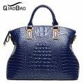 QIAO BAO 2017 Crocodile Genuine Leather Handbag Fashion Cowhide Shoulder Bag Cabas Big Bags Tote Shopping Bag