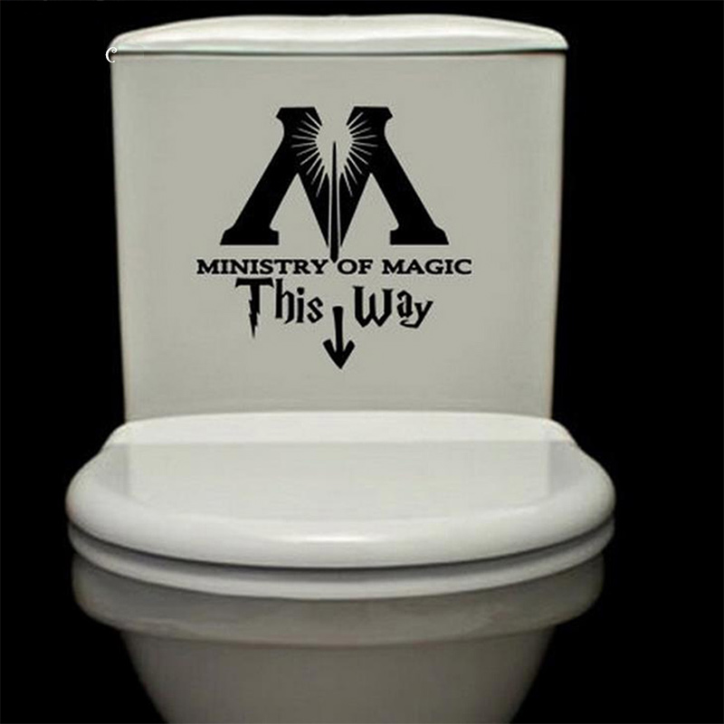 Ministry of magic this this way vinyl decal harry potter toilet toilet sticker wc - Decor wc ...