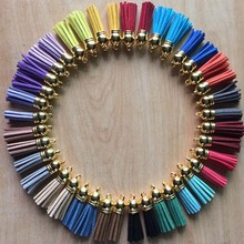 20pcs/lot 37mm length Mixed Color Korea Velvet Suede Tassel With Caps For Keychain DIY Jewelry Making Accessories
