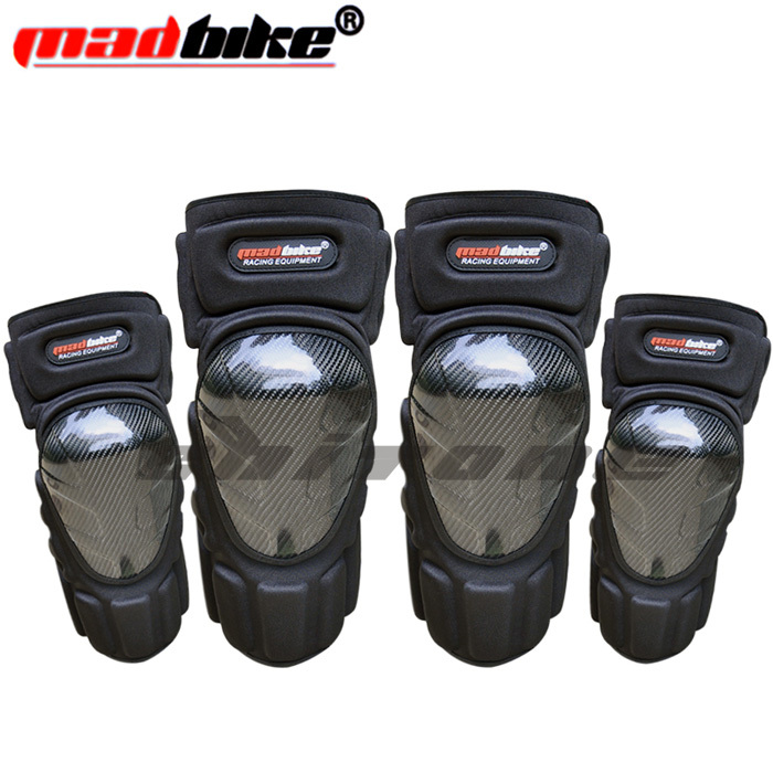 Madbike proteção de fibra de carbono cotovelos joelho da motocicleta moto joelheira joelheira moto motocross greave lema 2 conjuntos / 4 pcs
