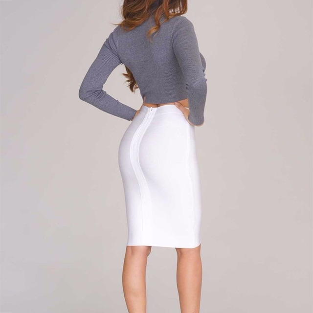 New Fashion Pencil Skirts Women Sexy Bodycon Bandage Skirt Rayon Stretch Knee Length Celebrity Party Midi Skirts