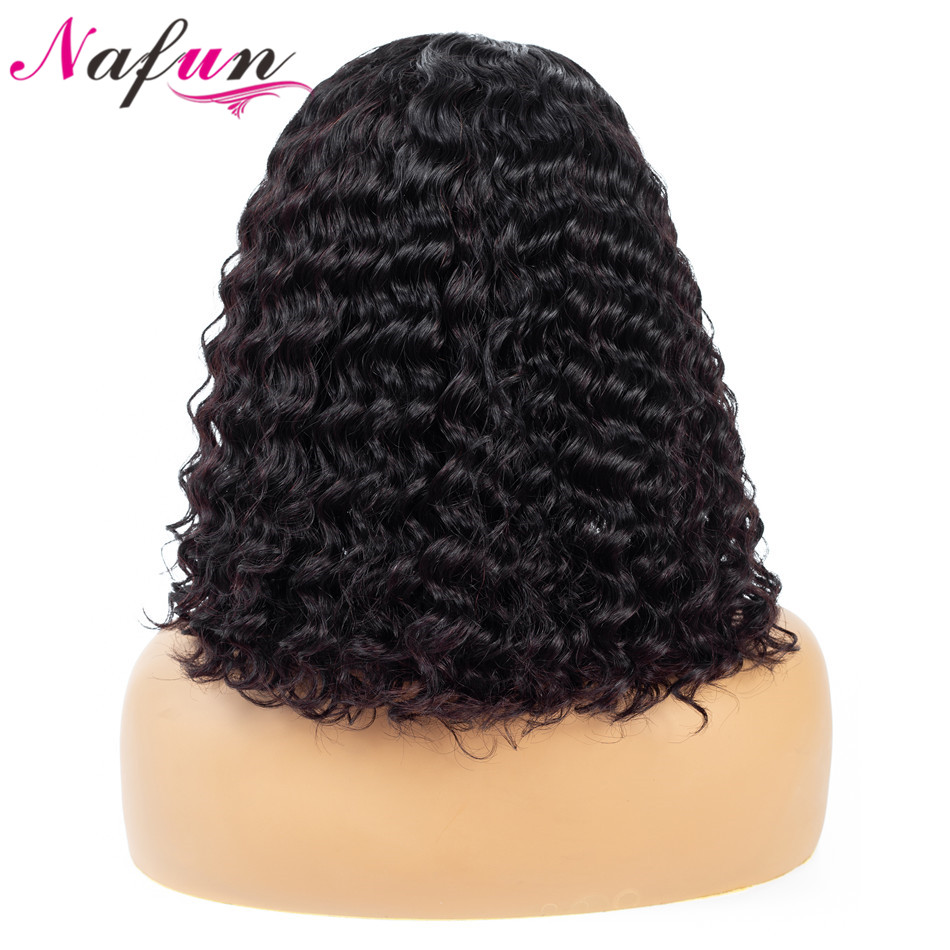 Nafun 13x4 Short Bob Lace Front Human Hair Wigs Malaysian Remy Hair For Women Deep Wave Bob Wigs Lace Frontal Wigs 150% Density