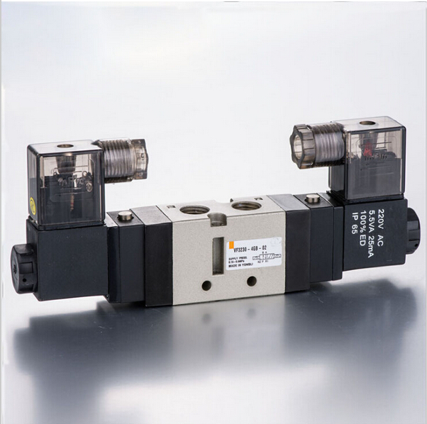 1/4  VF 3 position 5 way pilot-operated type double coil lead wire 300mm loking type B pneumatic solenoid valve coil 220v 5 way pilot solenoid valve sy3220 3d 01
