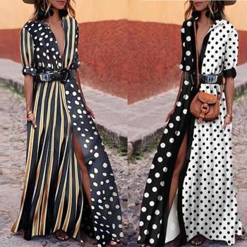 Vestido de playa para mujer, traje de baño con cubierta, albornoz de baño, prenda envolvente, raya ondulada, costura, camisa suelta, falda de Patchwork de algodón