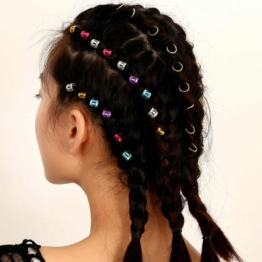 Смешанные 2 типа кольца для волос 20 шт. с 30 шт. Концевая тесьма для волос дредлок бусина зажим для манжеты оплетка округлые бусины