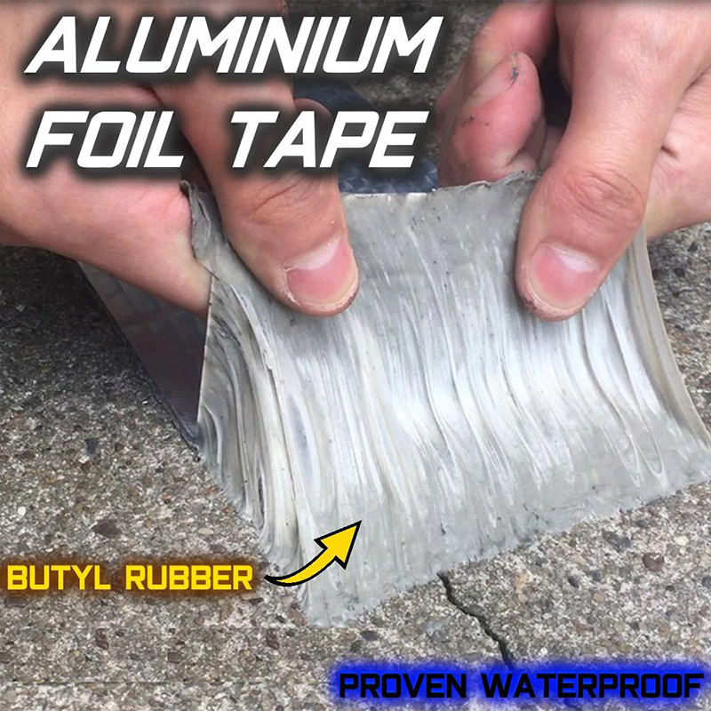 High Aluminum Foil Butyl Rubber Tape Self Adhesive Waterproof For Roof Pipe Marine Repair UEJ