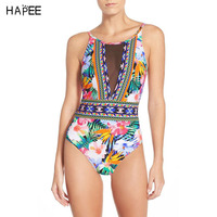 Brazilian African Retro Flower Print Mesh Swimwear Backless One Piece Swimsuit Bathing Suit Women Swimming Suit