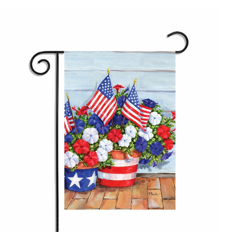 Attractive Pastoral Blossom USA Garden Flags With American Flag Home Decorative  Polyester Yard Gardens Flag Banners Double