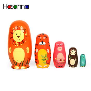 5PCS Russian Stacking Nesting Matryoshka Dolls Set of 5 Wooden Animal Collections Hand Paint Dolls Decoration Toys for Kids Gift image