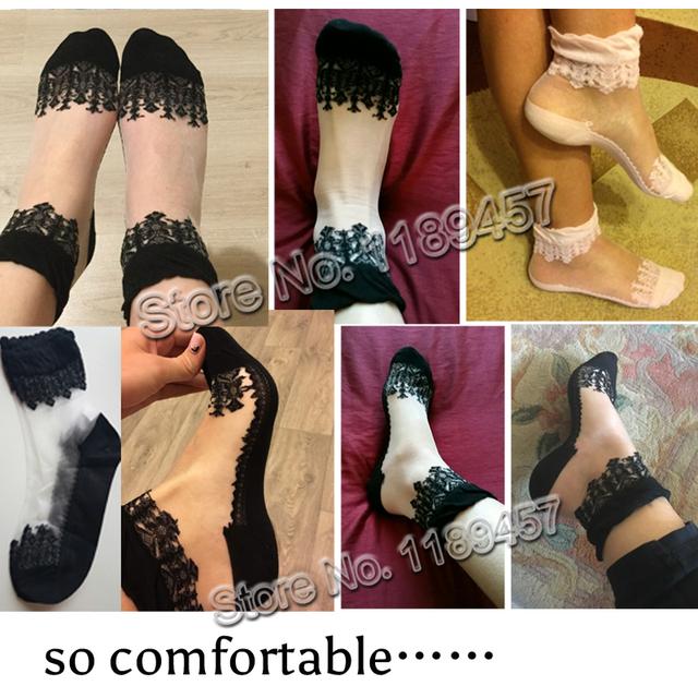 Colorful Ultrathin Transparent Crystal Lace Elastic Short Women Socks