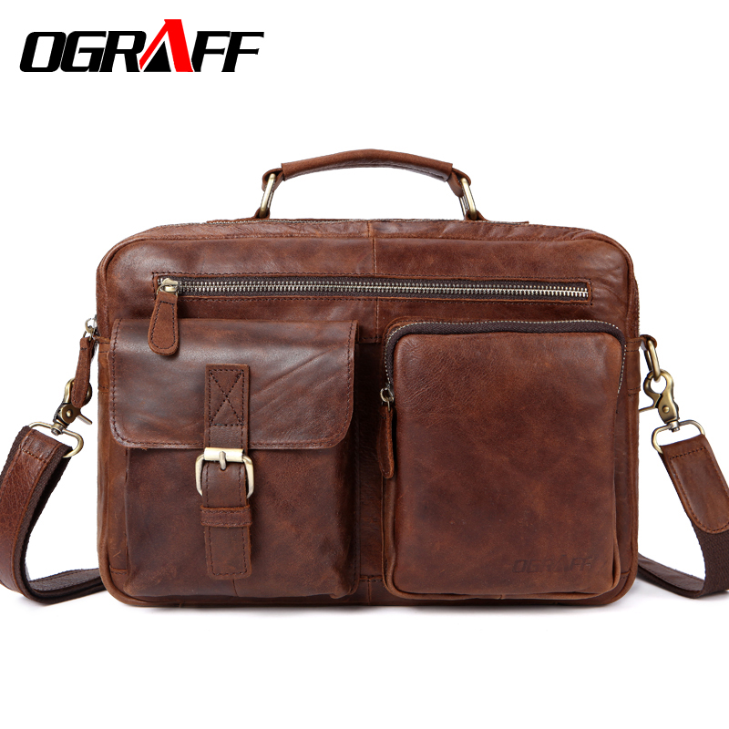OGRAFF Large Messenger Bag Men Leather Briefcase Laptop Crossbody Bag Genuine Leather Shoulder Bag Handbag Tote Famous Brand New ograff men shoulder bag men genuine leather handbag design briefcase crossbody messenger bags men leather laptop tote travel bag
