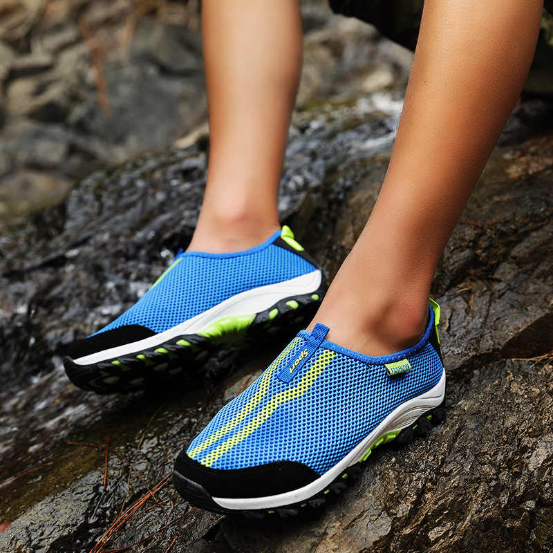 4b50c7243 Womens Breathable Slip On Sport Walking Shoes Women Outdoor Sport Sneakers  for Men Breathability Air Platform