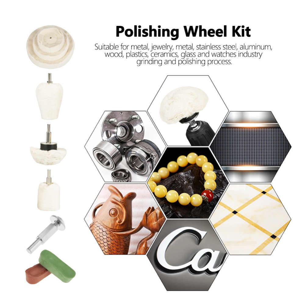 9 stks/set Polijsten Wiel Kit Kegel Cilinder Paddestoel Mop Buffing Wheel Pad Compound Polijsten Gereedschap Hot Koop