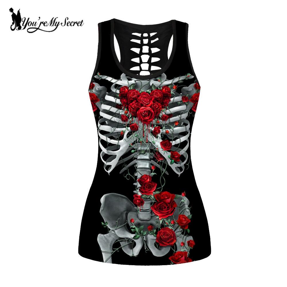 [You're My Secret] Skull Skeleton   Tank     Tops   Women Red Rose Round Ombre Sleeveless Plus Size Vest Shirt