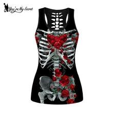 [Youre My Secret] Skull Skeleton Tank Tops Women Red Rose Round Ombre Sleeveless Plus Size Vest Shirt
