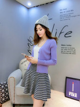Fashion Slim Cashmere Blended Knitted Short Sweater Women Cardigan Long Sleeve V-neck Single Breasted Solid Color Pull