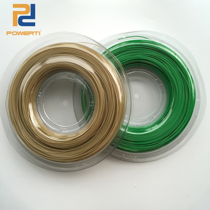 Powerti 1.30mm Tennis String Polyester Green Outdoor Training Racket String 200m Reel for Tennis Gym Beginner new replacement 200m reel racquet tennis string power rough 1 25mm tennis racket string promotion soft nylon tennis racket line
