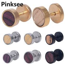 18G Stainless Steel Wood Fake Cheater Ear Plugs Gauges For Men Women Earrings Piercing Body Jewelry Stud anti-allergy 1PC