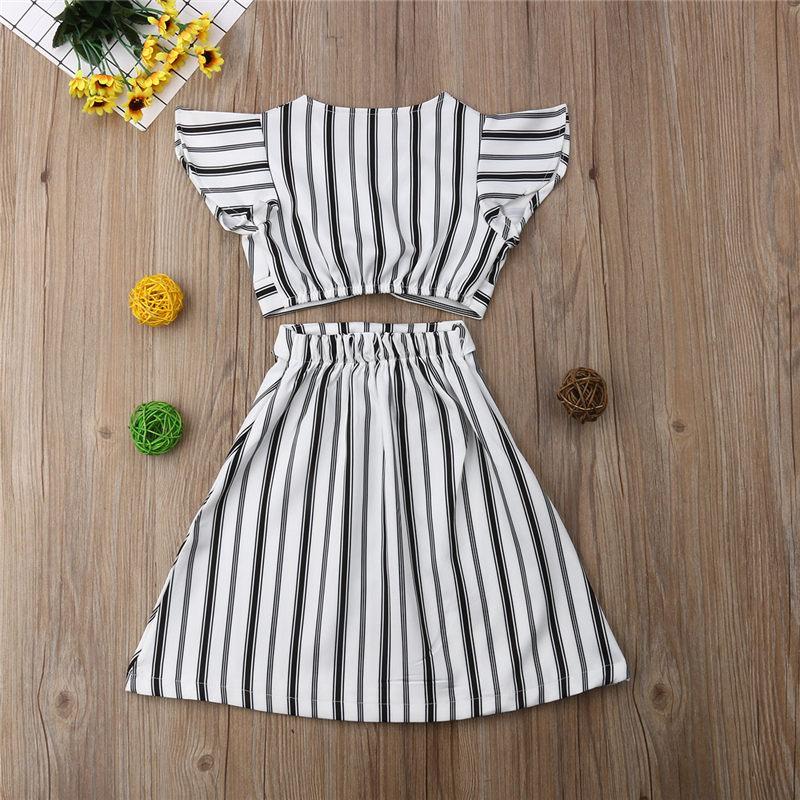 US Toddler Girls Crop Tops T-shirt+Skirt Outfit Clothes Kid Party Dress Sundress