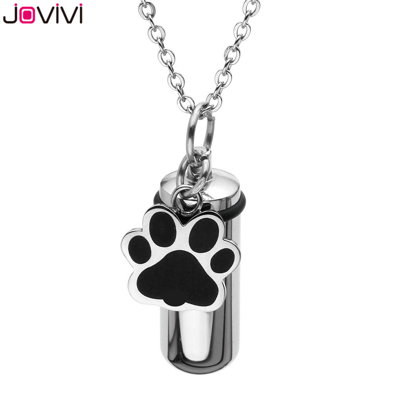 Men Cylinder Pendant Necklace Ash Urn Cremation Claw Footprint Memorial Jewelry