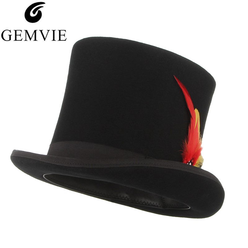 GEMVIE 100% Wool Felt Beaver Top Hat With Feather Cylinder Hat For Women Men Mad Hatter Party Costume High Magician Cap