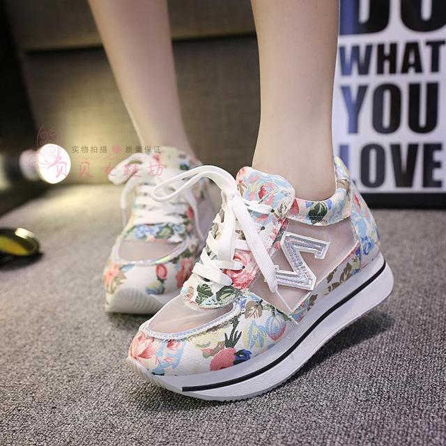 c3b5a3e0523f Women Shoes Platform Breathable Fashion Sneakers Woman Shoes High Heels  Platform Sport Shoes Leisure Spring Fashion Girls Shoes