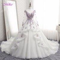 Melice Elegant Scoop Neck Long Sleeve A Line Princess Wedding Dresses 2018 Delicate Beaded Flowers Wedding