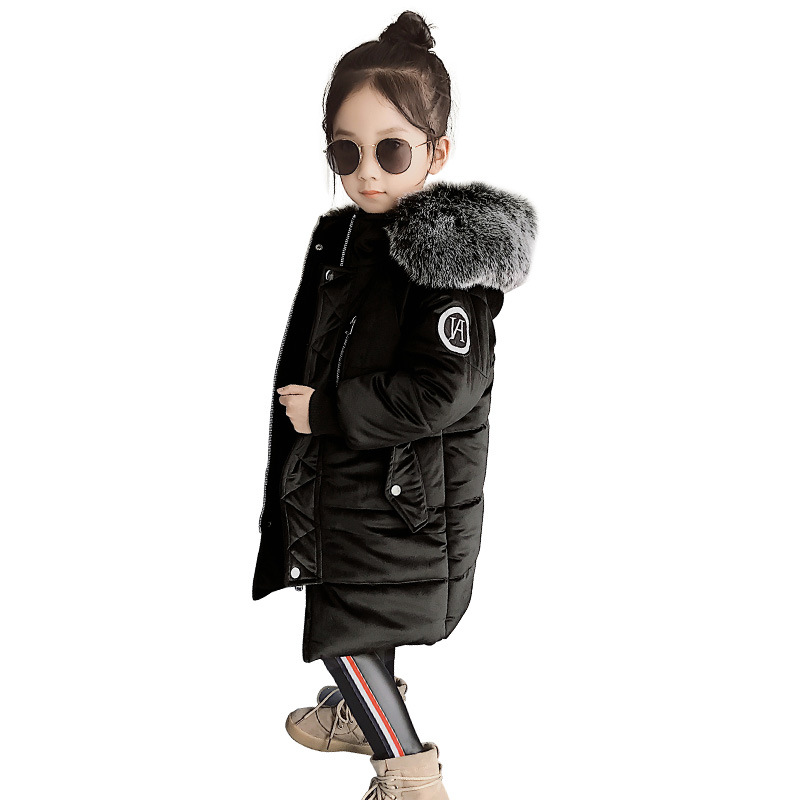 Kids Parkas Hooded Coat children's Winter jackets Warm Down cotton For Girl clothes Children Outerwear Thick Overcoat Gold wool цена