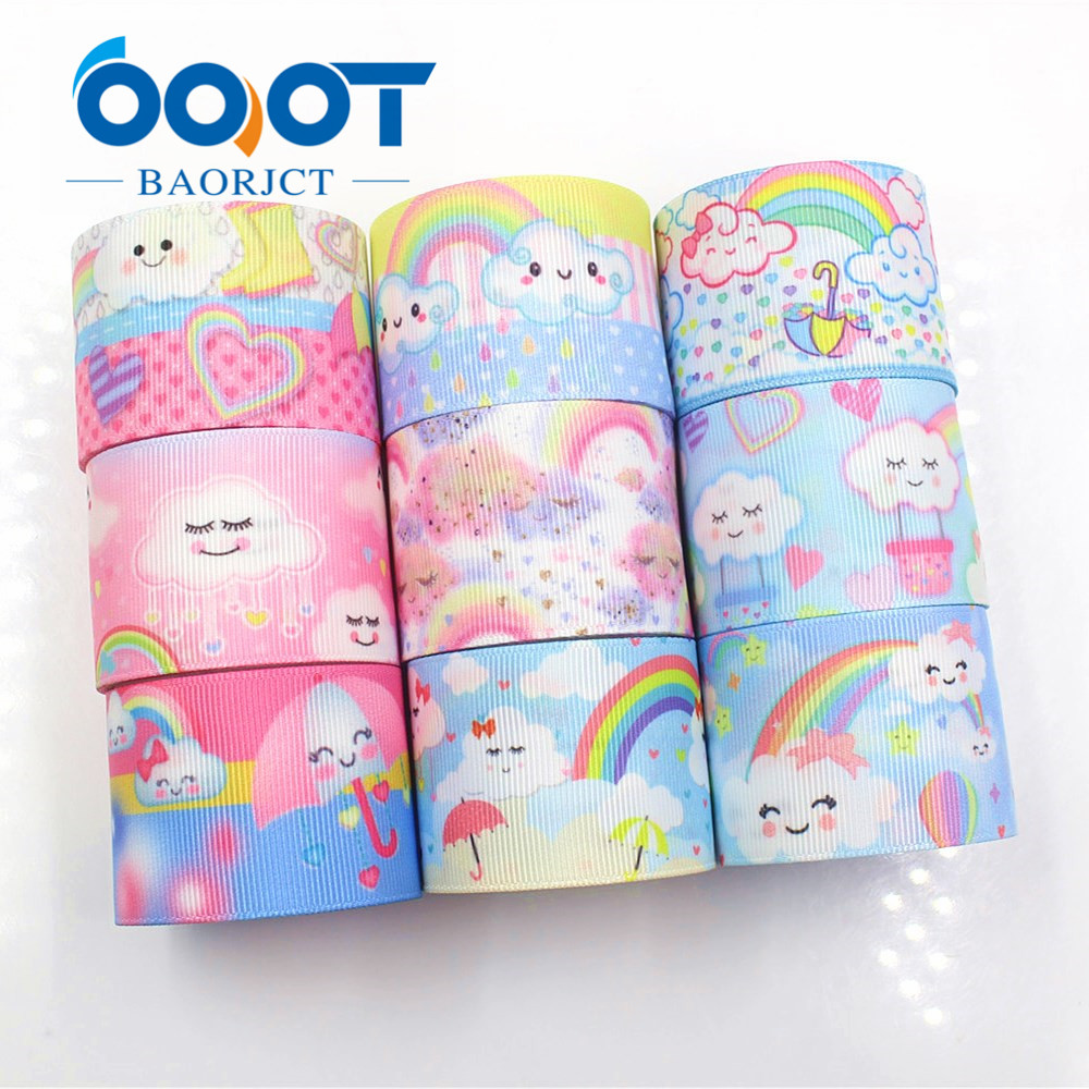 OOOT BAORJCT I-19221-402,38mm,10yards Rainbow Clouds Thermal Transfer Printed Grosgrain Ribbons,bow Cap Accessories Decorations