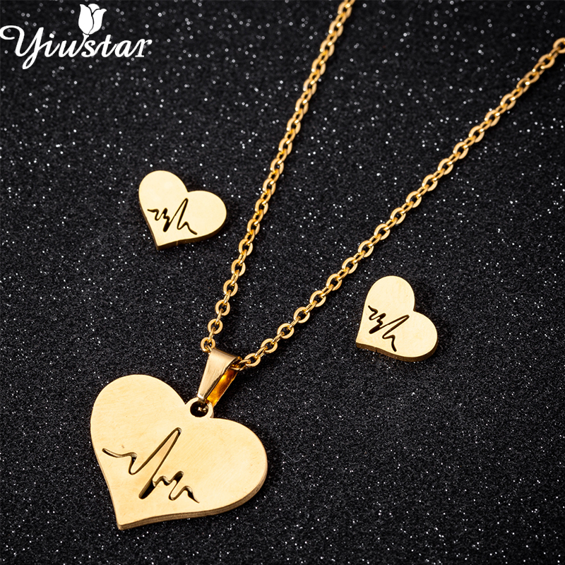 Yiustar Love Heart Stainless Steel Jewelry Lot Tiny Heartbeat in Love Heart Necklaces Gold ECD Pendant Chokers for Wedding Gifts(China)