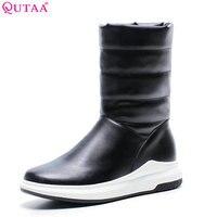 QUTAA 2018 Women Mid Calf Bootd Fashion Slip On Winter Keep Warm Snow Boots Wedges Heel