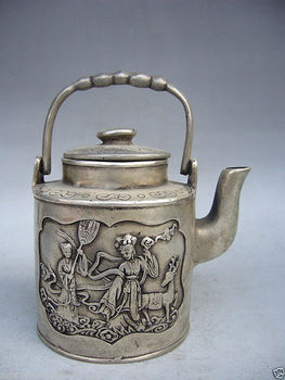 Collectible Decorated Old Handwork Tibet Silver Carved Portable teapot