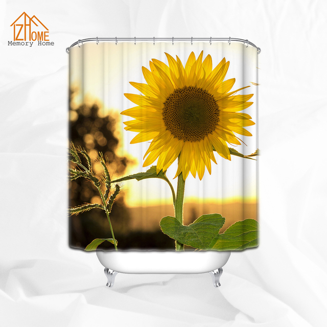 Memery Home Sunflower Setaria Decor Shower Curtain Set Sunrise Floral Bathroom  Accessories 180W X 180H CM