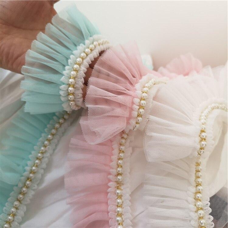 Maille + perles de décoration en dentelle avec volants et garniture en tissu en filet X038, couleur rose/bleu clair/blanc/lait de 6cm, prix de gros