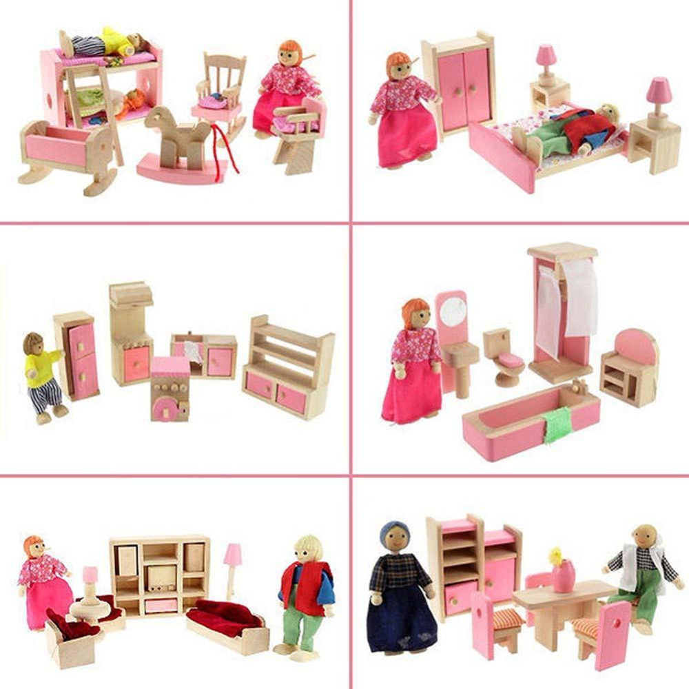 Newest Wooden House Furniture Miniature Dolls Kitchen Bed Living