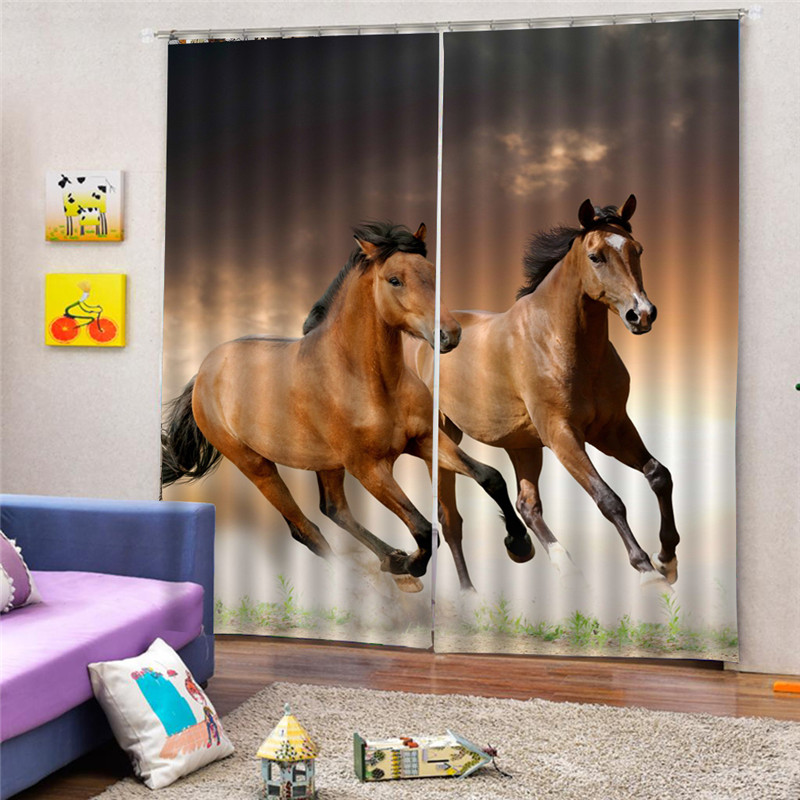 Horse Curtain Tapestry Polyester Hanging Home Decoration Digital Print Curtain For Badroom 3D Blackout For Living Room Oct29
