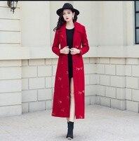 2018 Новый Для женщин зимние красные шерстяные пальто Тонкий однобортный пайетки вышитые X длинные Шерстяное пальто женский утепленный Тренч