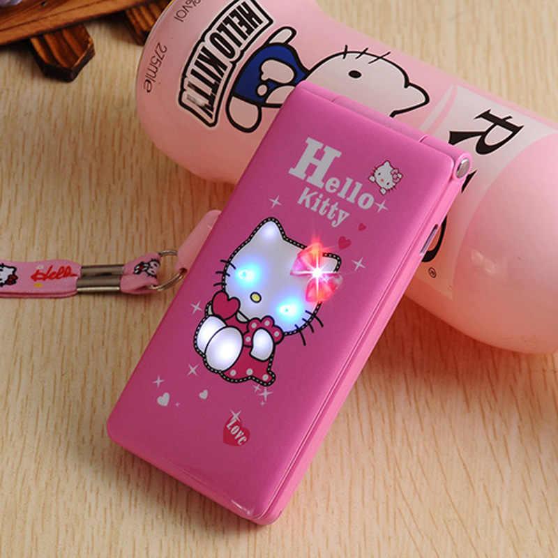Разблокированный Kuh D10 с двумя sim-картами, кошачий флип-телефон, Gprs, легкое дыхание, для женщин, девочек, Mp3, Mp4, мультфильм Hello Kitty, мобильный телефон