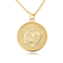 S925 round 12 constellation necklace European and American cross border collars with ins style coin collarbone chain(China)