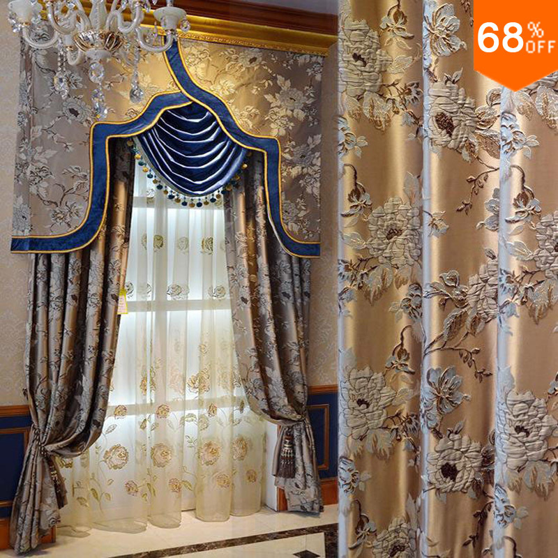 Wholesale Best Golden Real 3D Luxury Flowers Curtain Embroidery Blinds Finished Curtain With Tulle Sheet Valance Beads Curtains