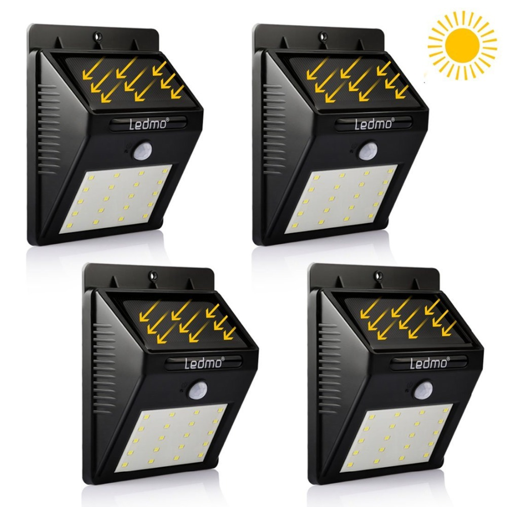 4 Pack  LED Solar Lamp 20 LED Waterproof Garden Wall Light Outdoor Lighting PIR Motion Sensor Street Security Lamp Energy Saving hot waterproof led solar light 46 led outdoor wireless solar powered motion sensor solar lamp wall lamp security lights