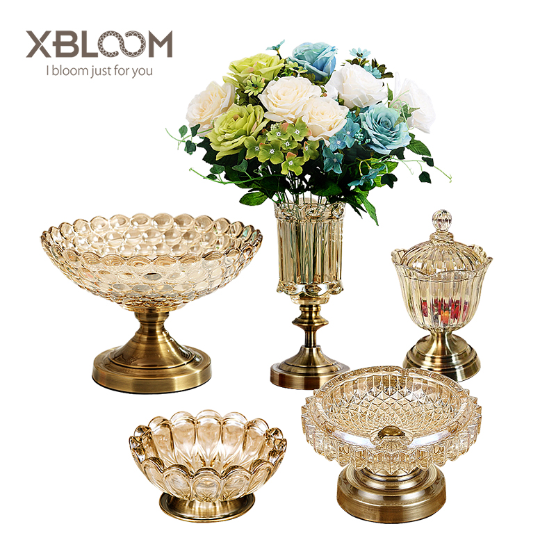 5 piece crystal glass fruit plate beauty continental Europe America vase home soft furnishings home decoration accessories hogar