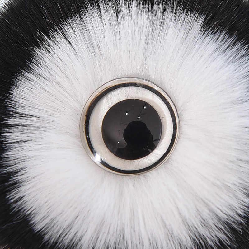 Adorável panda olhos grandes Chaveiro Pompom Lindo Chaveiro Chave Do Carro Anel de Imitação de pele de raposa da Pele Do Falso do cabelo Saco Encantos Acessórios k1673