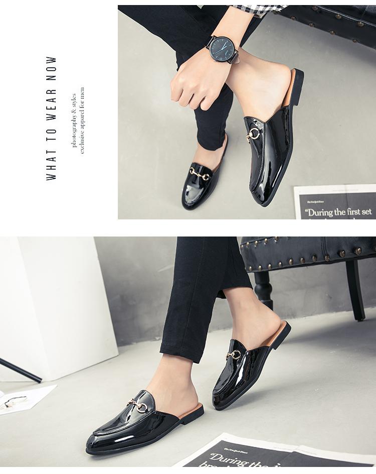 Men Backless dress leather slipper shoes Men unisex Bee prints Horseshoe buckle Casual business wedding Leather shoes women 11