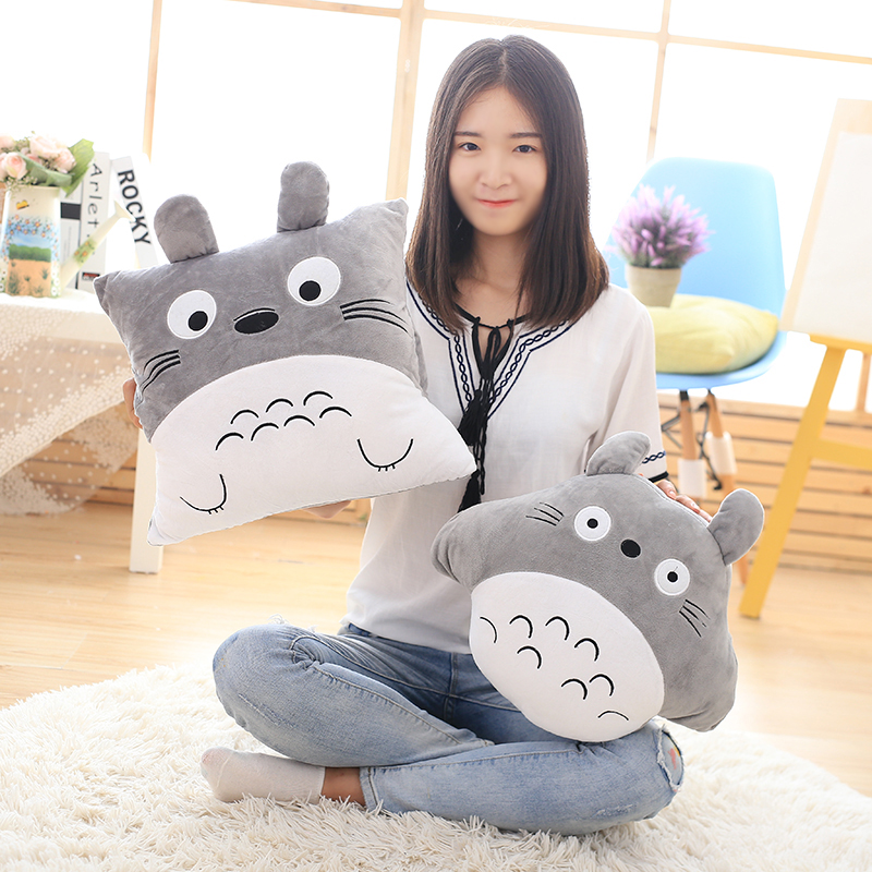 Cartoon Totoro Air Conditioning Blanket Inserted Hand Pillow Car Quilt Cushion Plush Toys Boys Girls Valentine's Christmas Gifts