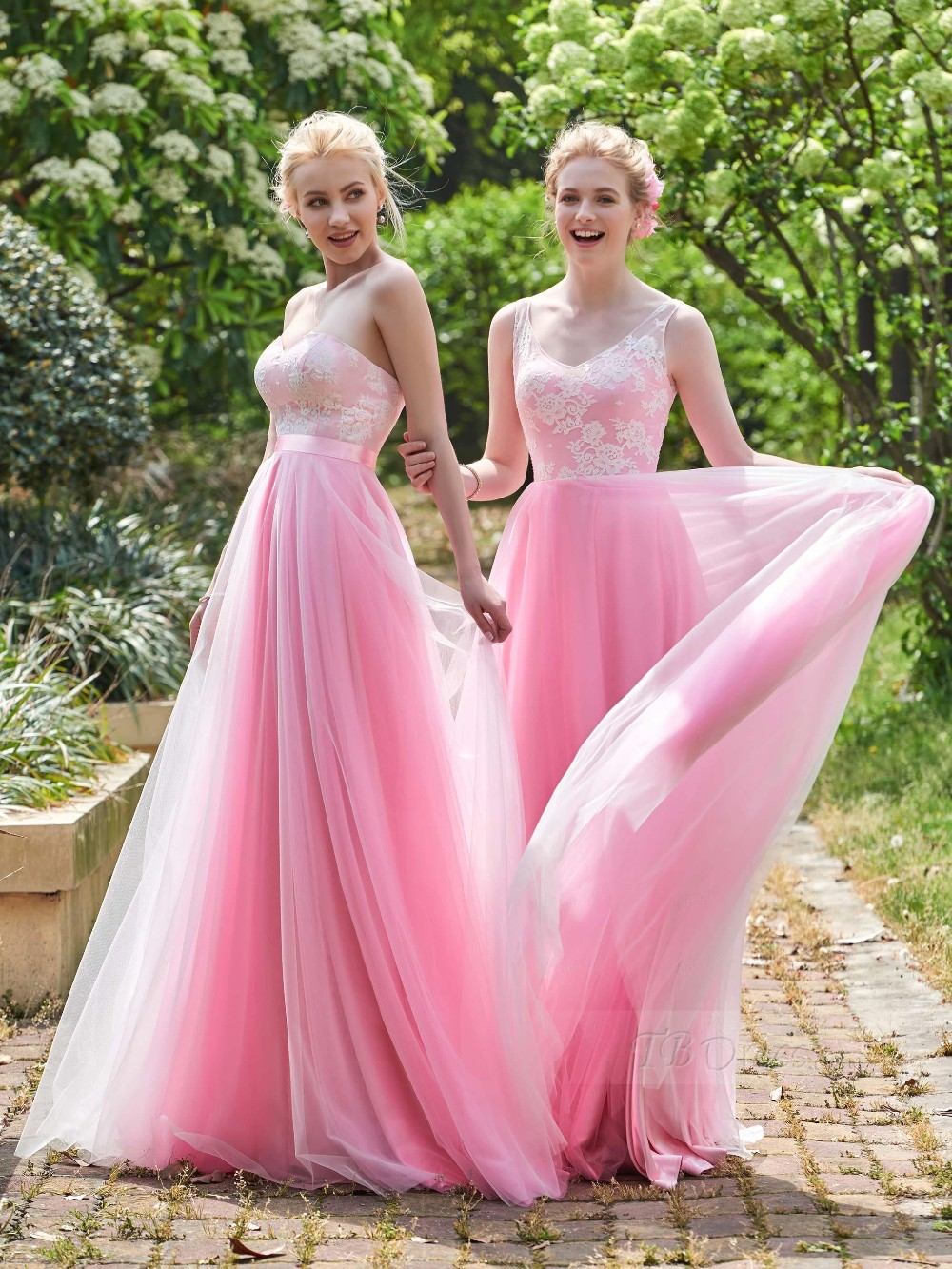 Beach Bridesmaid Dresses Vintage Pink Two Style A Line Lace Long ...