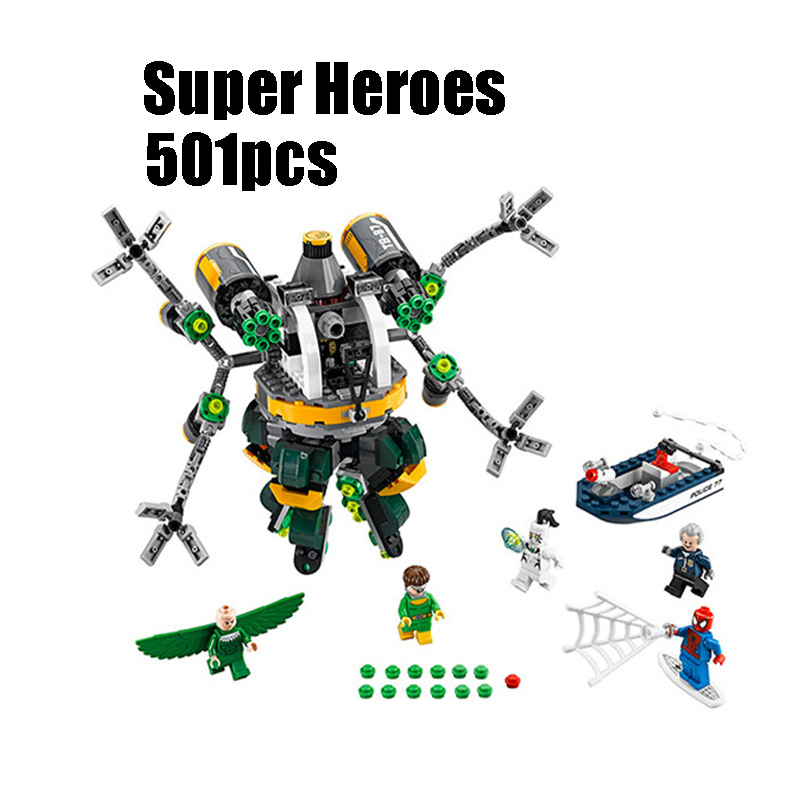 501pcs 07040 Super heroes movie Spiderman Doc Ock's Tentacle Trap Compatible Legoe 76059 Model building blocks toys for children lepin 07056 775pcs super heroes movie blocks the scuttler toys for children building blocks compatible legoe batman 70908